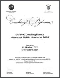 EHF PRO Coaching License 2016-2018 Jiří Tkadlec